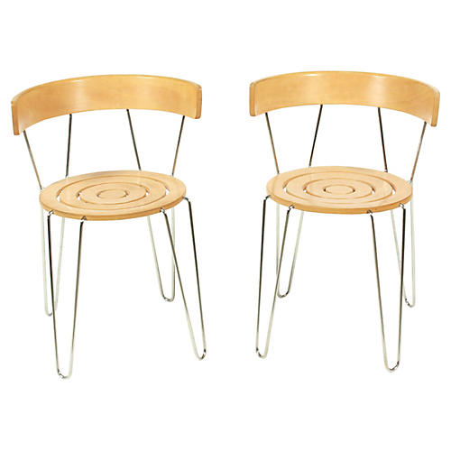 Wood and Metal Side Chairs, Pair