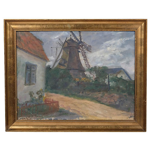Midcentury Windmill Landscape by R.S.