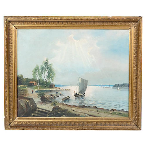 Coastal Village Landscape w/ Dock