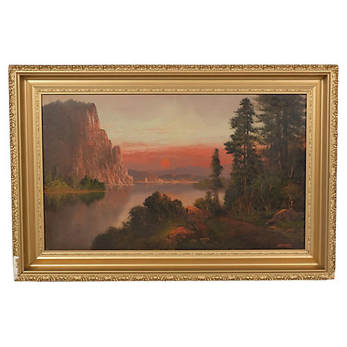 Cliff Lake Sunset Landscape by WM. Hart