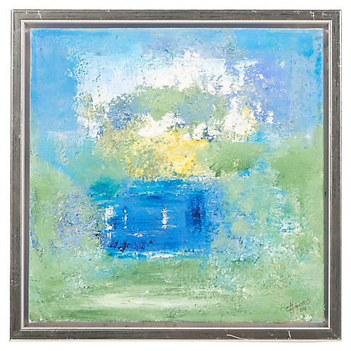 Blue & Green Toned Abstract Painting