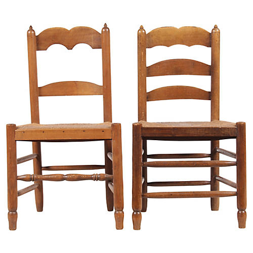 Antique French Ladder Back Chairs