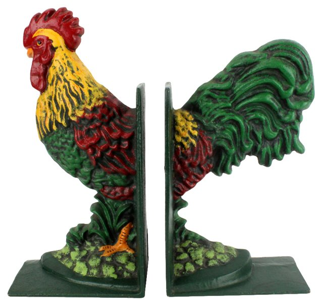 Painted Cast Iron Rooster Bookends