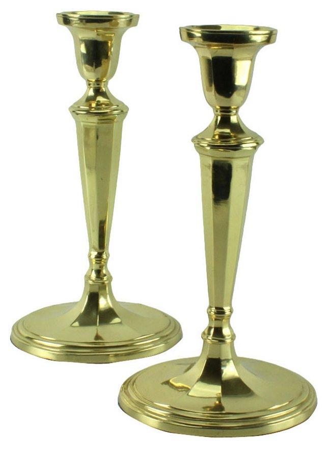 Polished Brass Candlesticks, Pair