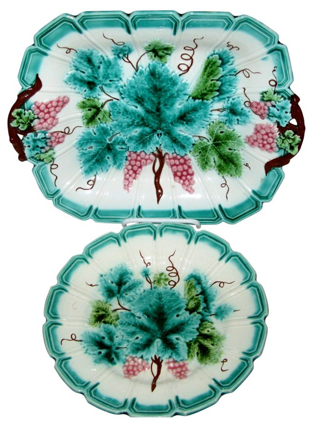French  Majolica Serving Dishes, Pair