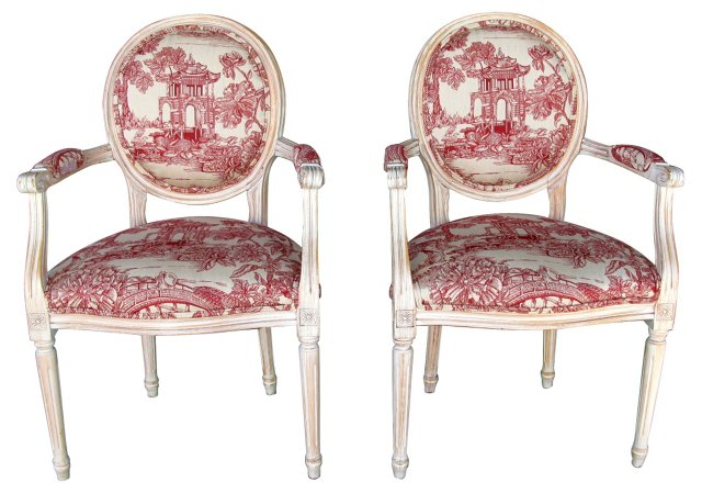 French Chairs w/ Chinoiserie Motif, Pair