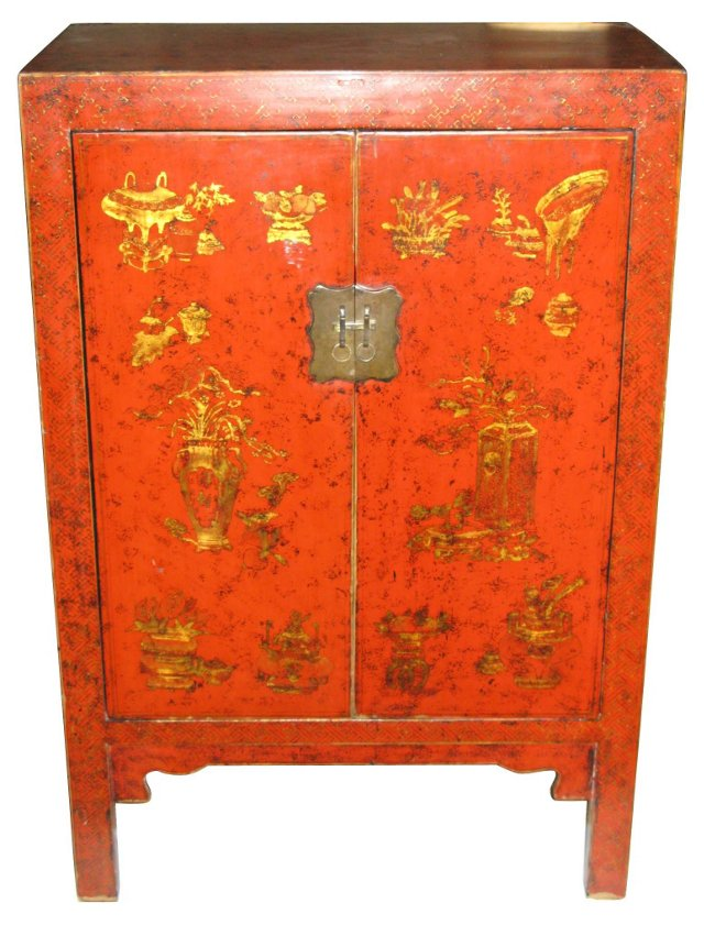Chinoiserie Red & Gold Lacquer Cabinet