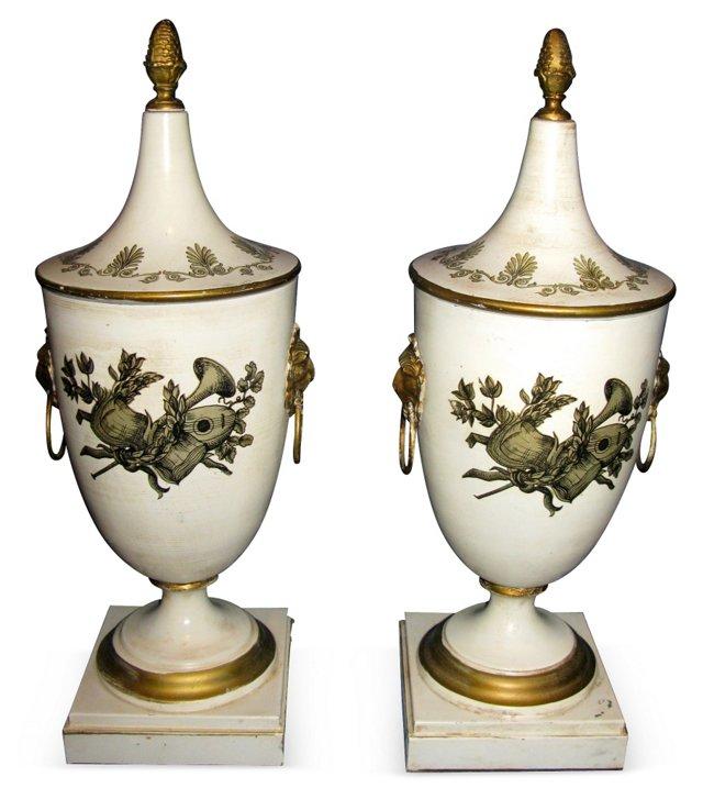 Italian Tole Lidded Urns, Pair