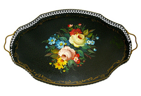 French  Tole  Gallery Tray H.P Roses