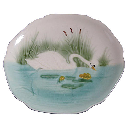 French Majolica Wall Plate Swan, C.1900