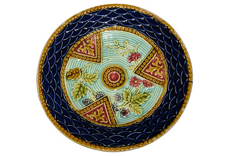 Majolica French Rare Wall Plate, C.1890