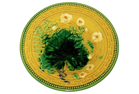 Antique Majolica Wall Plate C.1880