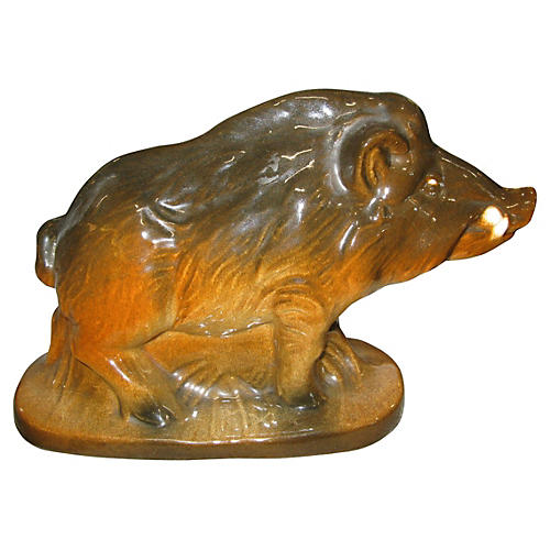 French Majolica Boar Figurine