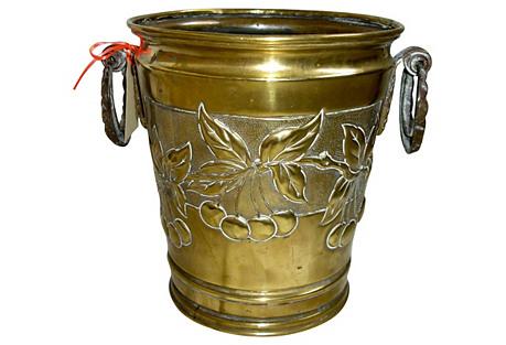 Art-Nouveau Brass Bucket signed C.1900