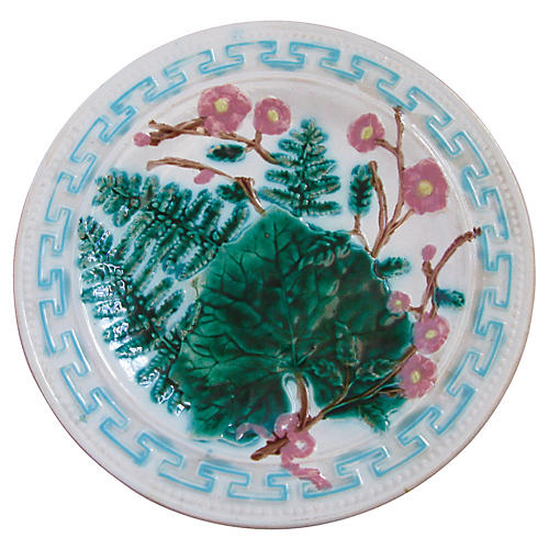 Majolica French Wall Plate Greek Key