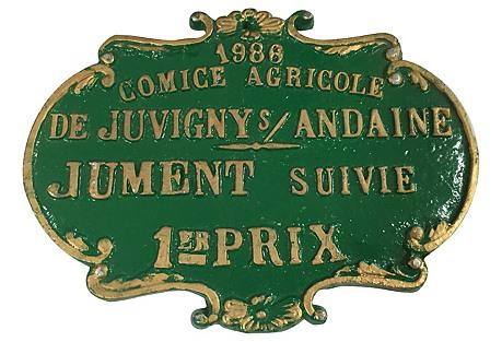 French Equestrian Award Plaque, 1986