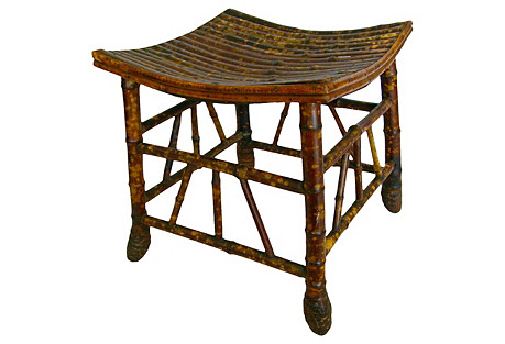English Bamboo Thebes Stool, C. 1900