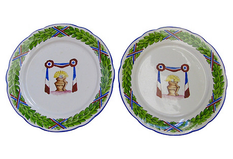 Faience Hand-Painted Voting Plates, Pair