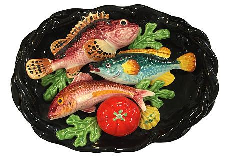French Majolica Fish Wall Plate, 1950