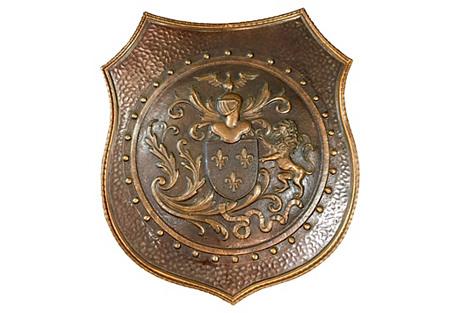 French Vintage Fleur-de-Lis Lion Shield