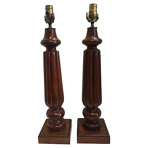 English Wood Fluted Column Lamps, Pair