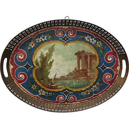 French Pastoral Scene Tray
