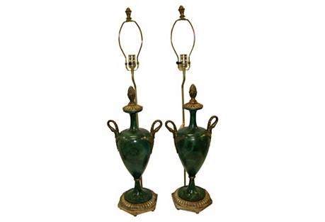 Italian Faux-Malachite Urn Lamps, Pair