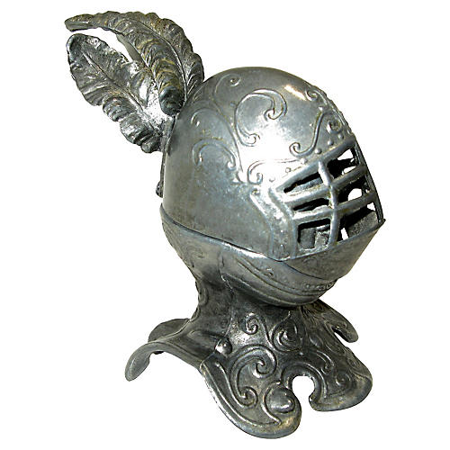 French Pewter Knight Helmet Lighter 1950