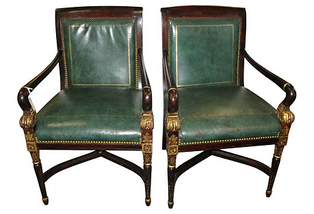 Pr. of Wood Green Leather Library Chairs
