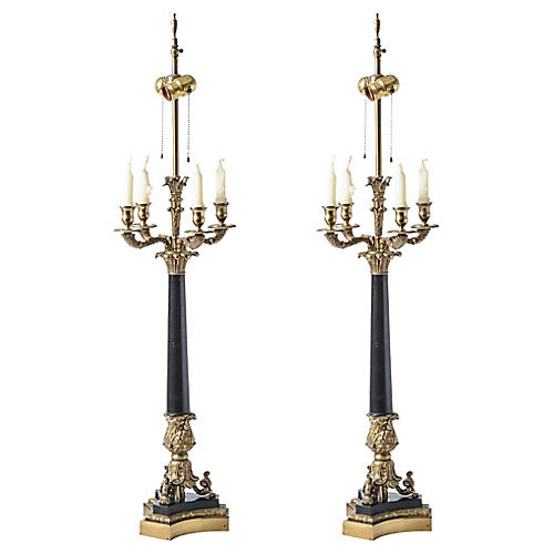 1960s Neoclassical Candelabra Lamps, S/2