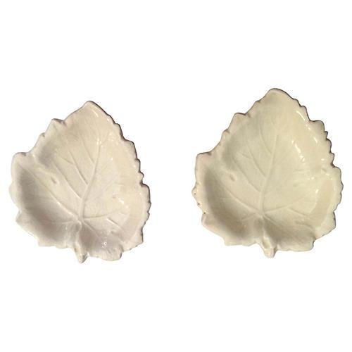 Pr. of Cream White Wedgwood Leaf Plates