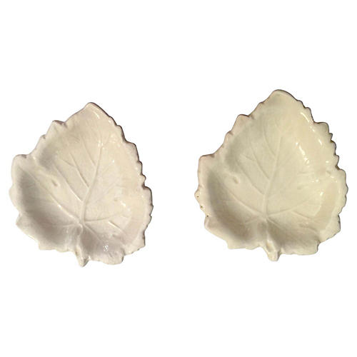 Pr. of Cream White Wedgwood Leaf Plates