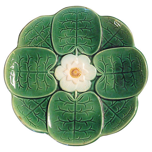 19th-C. Lily Pond Majolica Wall Plate