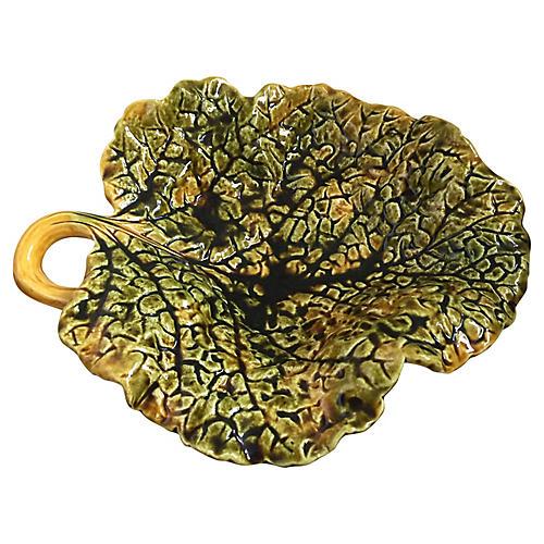 Majolica Cabbage Leaf Plate C.1890
