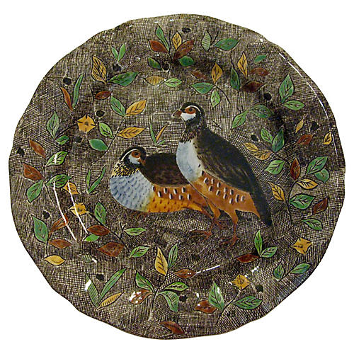 French Gien Faience Partridge Plate