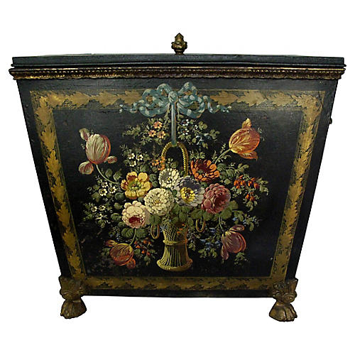 Antique Victorian Coal Box Florals Large