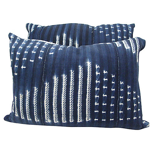 Indigo African Mud-Cloth Pillows, Pair