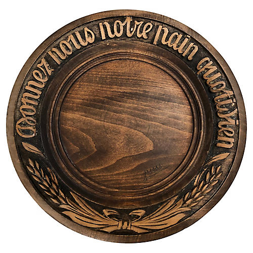 French Wood Bread Wall Plate, C.1920