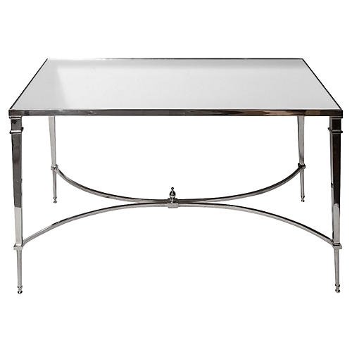 Mirror-Top Chrome Coffee Table
