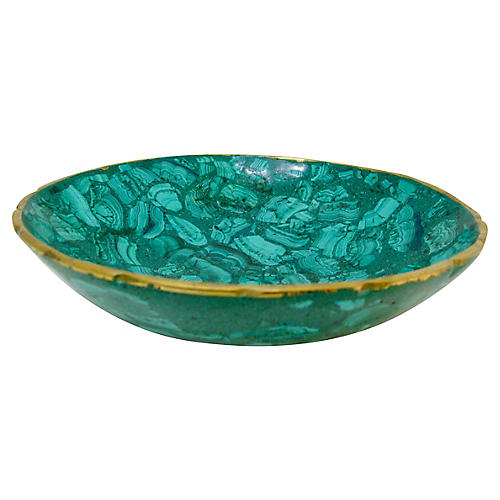 Tessellated Malachite and Bronze Bowl