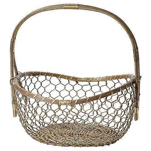 Midcentury Brass Basket