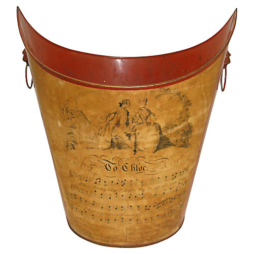 Red Tole Musical Print Wastebasket