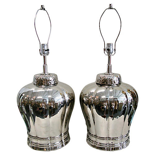 Silver Ceramic Ginger Jar Lamps, Pair