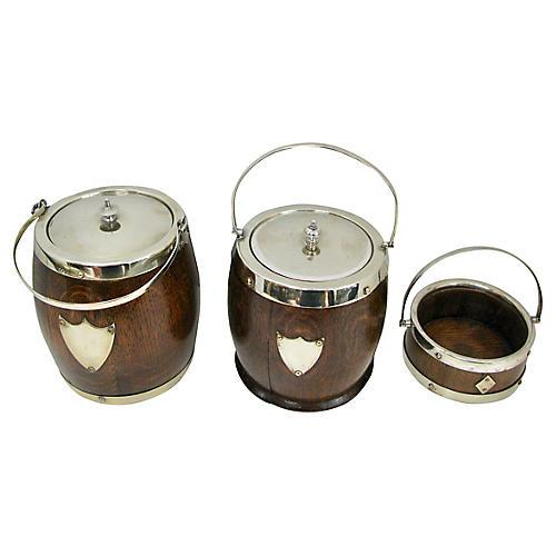 Antique English Wood Barrel Jars, S/3