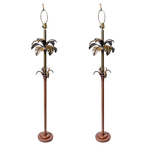 1960s Palm Tree Floor Lamps, Pair