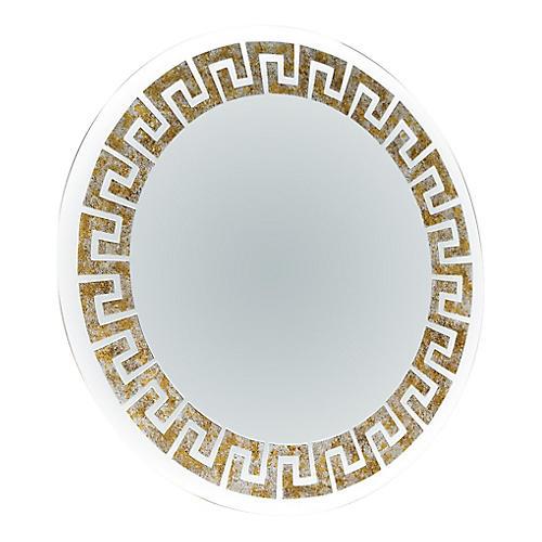 Round Gilt Greek Key Mirror, 1980