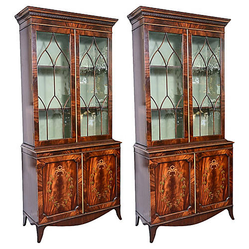 Regency-Style Inlaid Wood Cabinets, Pair