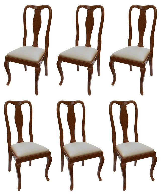 English Lacquered Dining Chairs, S/6