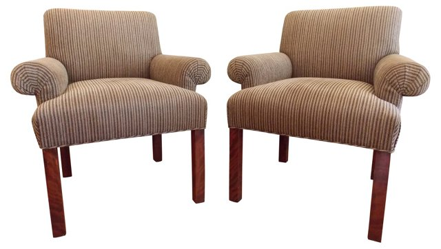 Midcentury Upholstered Chairs, Pair