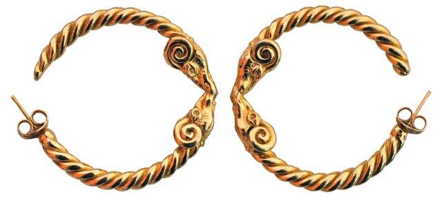 Gold Ram's Head Twisted Hoop Earrings